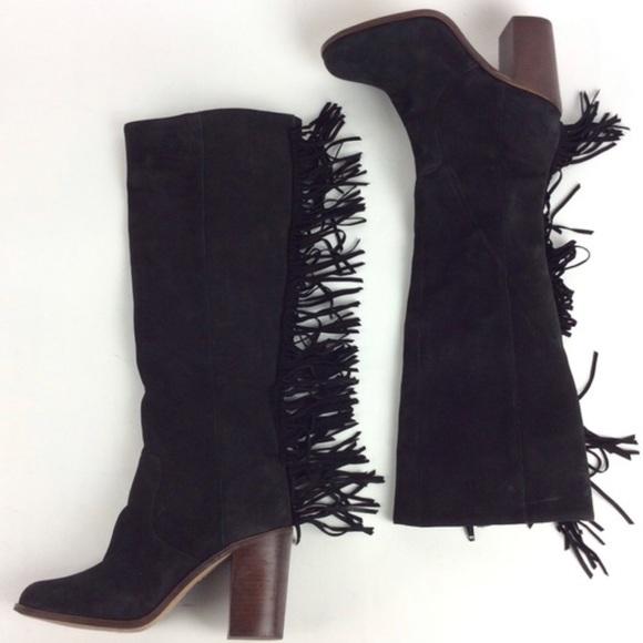 Gianni Bini fringe Back Drop suede heeled boots